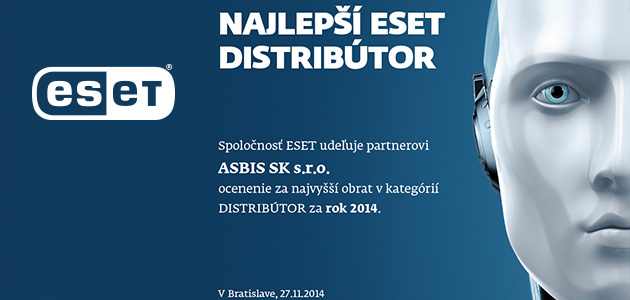 "ASBIS gains ""Best ESET Distributor of 2014"" accolade in Slovakia"